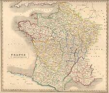 1848 Ca ANTIQUE  MAP-H/COL- FRANCE IN DEPARTMENTS