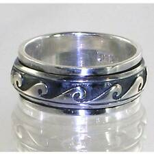 BALI DESIGNER WAVE SWIRL BAND RING__ 925 STERLING SILVER__SIZE-8