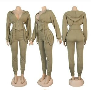 Women Casual Hooded Collar Zipper Long Sleeve Banded Tops+ Ankle Pants 2PS Set A