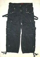 TRIPP NYC Pants Zip Off Shorts Cargo Punk Goth Rave Black XL UNISEX 38 max waist
