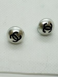 Set of  2 cute white Chanel Buttons, 13 mm