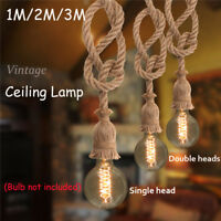 E27 Industrial Pendant Lamp Vintage Edison Hemp Rope Ceiling Light Fixture NEW