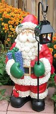"Large Red White 24"" Santa Figurine - Statute Holding a Lantern"