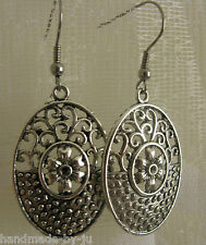 Surgical Steel Earwire Drop Dangly Earrings Antique Silver Filigree Flower Oval