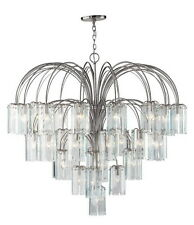 Forecast Lighting Satin Nickel And Clear Beveled Glass 38 Light Chandelier