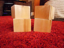 Set of 4 Small Cube Solid Wood Furniture Feet /Legs,Sofa,footstool,bed,BRAND NEW