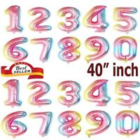 """40"""" Giant Foil Number Gradient Balloons Helium Birthday Age Party Wedding decor"""