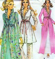 """Vintage 70s ROBE & PANTS Sewing Pattern UNCUT Bust 34"""" Sz 10 RETRO Peignoir GOWN"""