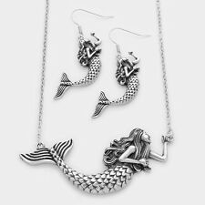 Mermaid Necklace Long Chain Pendant Metal Sea Life Beach Starfish Dream SILVER