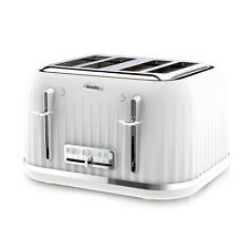 Breville 4 Slice Toaster High Lift Crumb Tray Non Slip Fast Pop Up 2kW White New