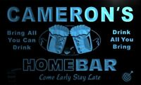 p332-b Cameron's Home Bar Beer Family Name Neon LED Sign