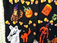 vintage Halloween cat cardigan costume jumper cotton ramie skeleton BRISTOL L