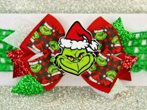 The Grinch - Christmas Themed Handmade Baby Toddler Headband Bow