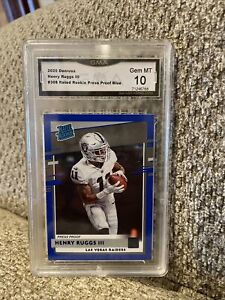 2020 Panini Donruss Henry Ruggs III Rated Rookie Blue Press Proof Sp Graded 10