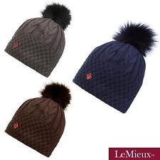 MY LEMIEUX LENA POM HAT SOFT WINTER BOBBLE HAT MOCHA / NAVY / GREY