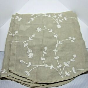 Lovely Beige Valance with White Cotton Embroidered Flowers Window Topper Light