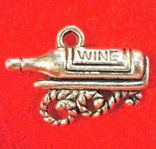 50Pcs. WHOLESALE Tibetan Silver WINE BOTTLE Charms Pendants Earring Drops  Q0593