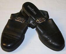 Minnetonka Slip On Shoes 7.5 7 1/2 Black Leather Open Heel Buckle Womens Slides