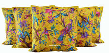 "SET OF 5 INDIAN HANDMADE KANTHA WORK 16X16"" COTTON CUSHION COVER ETHNIC ART tS"