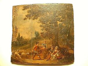 Small Antique Masters Painting On Wood Panel
