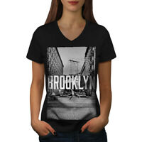 Wellcoda Brooklyn Urban Street Womens V-Neck T-shirt, Grey Graphic Design Tee
