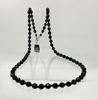 """Vintage Beautiful Dramatic Black Bohemian Glass Faceted Beads 16"""" Necklace"""
