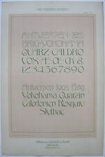 Antwerpen Loos Brig Schriften Orig Lithografie F. Schweinmanns Jugendstil 1900