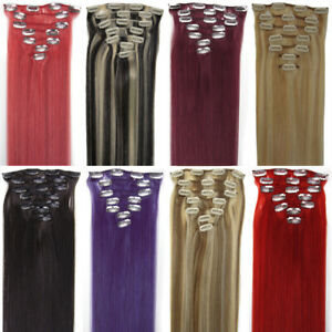 Clip-In Human Hair Extensions Premium Clip-on Real Remy Brazilian Hair 7pieces