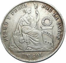 1874 Yj Peru South America 1 Sol Antique Original Silver Peruvian Coin i83331