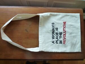A Woman's Place Is In The Revolution Cloth Tote Bag 13 X 14 inches
