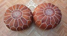 set of 2 Moroccan pouf Ottoman pouf Leather Pouf Footstool Pouf