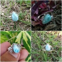 Dominican Larimar Ring Sterling Silver March Birthday Promise Ring Gift Ideas