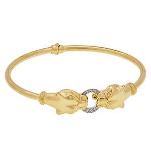 "10 Grams 14K Solid Gold Panther Head Antique Diamond Like 71/2 "" Bracelet $2499"