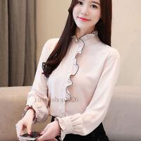 Fashion Womens Long Sleeve Ruffle Chiffon Shirt Casual Career Office Blouse Tops