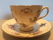 ROYAL VALE BONE CHINA 1950s CUP & SAUCER PINK Roses Blue Forget Me Nots MOTHER