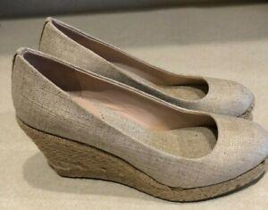 J.CREW Seville Women's Metallic Gold Espadrille Wedge Shoes size 5 NEW