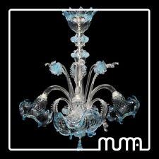 Lampadario Vetro di Murano 3 luci E14 elegante Celeste e struttura argento
