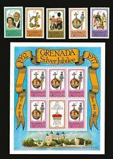 QEII Silver Jubilee 1977 GRENADA Stamp Set + Souvenir Sheet MNH