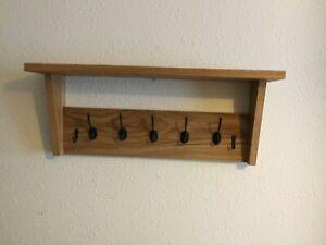 Oak Coat Rack With Shelf - Wooden Coat Rack - Cast Iron pegs plus two key hooks