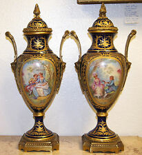 Antique French Ormolu-Mounts Sèvres Style Pair of Porcelain Vases Circa 1860s