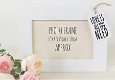 White Tag Picture Frame 6x4 Wooden Love Home Gift Photo SIL Black Heart Xmas