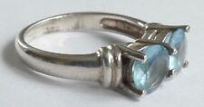 Ring 2 blaue Edelsteine 925 Silber rhodiniert Vintage 80er Silver Ring
