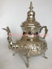 Authentic Moroccan Elegant handcrafted Alpaca Silver Teapot from Fez Extra Large