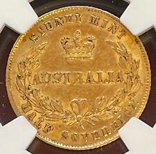 AUSTRALIA VICTORIA GOLD 1/2 Sovereign 1866 NGC AU53 - Scarce!