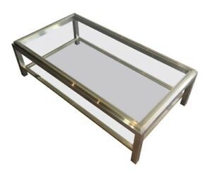 Large brass, chrome and glass Coffee Table signature Willy Rizzo