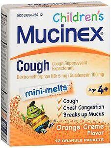 Mucinex Children's Cough Mini-Melts Packets Orange Creme Flavor 12 Ea (4-Pack)
