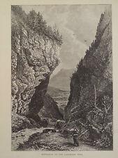 Gasteren Thal Bernese Oberland Region Switzerland Antique Engraving 1878