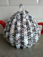 Hand-knitted rib tea cosy in lovely neutral colours. Large size