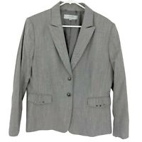 Tahari ASL Women's Blazer Suit Jacket Size 16 Checkered Gray Office Career