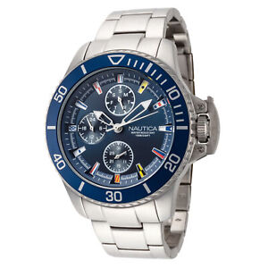 Nautica Men's NAPBYS005 Bayside 45mm Blue Dial Stainless Steel Watch